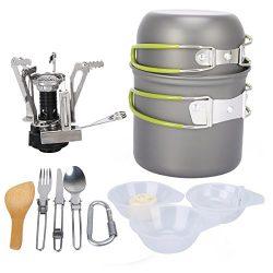 G4Free Outdoor Camping pan Hiking Cookware Backpacking Cooking Picnic Bowl Pot Pan Set 4 Piece C ...