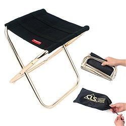 OWIKAR Mini Portable Folding Stool, Aluminum Fishing Chair Small Stool Seat Heavy Duty Foldable  ...