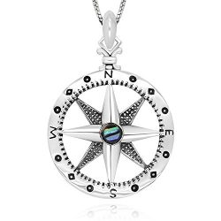 925 Sterling Silver Follow Your Dream Compass Abalone Shell Pendant Necklace 18″ for Woman ...
