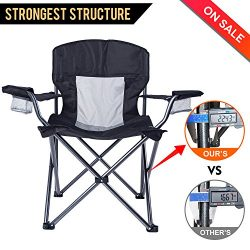 LCH Outdoor Camping Quad Chair Folding Up Chair High Back Heavy Duty Deluxe with Two Cup Houlder ...