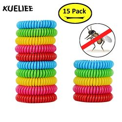 XUELIEE Pack of 15 Natural Mosquito Repellent Bracelets, 250 Hours Per Waterproof Mosquito Brace ...