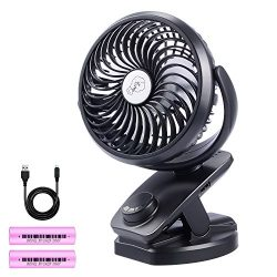 Yostyle Rechargeable Battery Operated Clip On USB Fan, Mini Stoller Fan, 4400mAh Battery/USB Pow ...