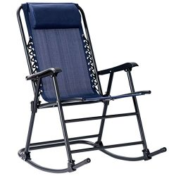 Goplus Folding Rocking Chair w/Headrest Outdoor Portable Zero Gravity Chair for Camping Fishing  ...