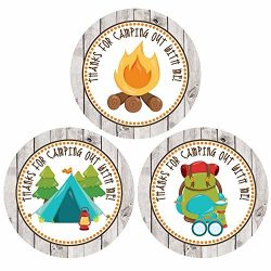 Rustic Wood Camping Themed Thank You Sticker Labels – Boy Girl Birthday Party Supplies  ...