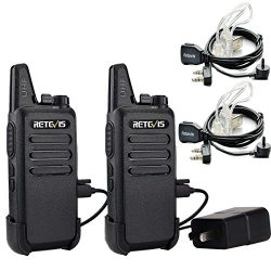 Retevis RT22 Two Way Radio UHF 400-480MHz 16CH VOX Walkie Talkies(2 Pack) and Covert Air Acousti ...