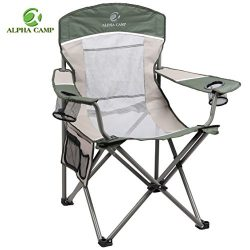 ALPHA CAMP Oversized Camping Chair Folding Portable Mesh Chair with Side Pocket and Cup Holder S ...