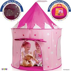 Play Tent Princess Castle Pink – Kids Tent Features Glow In The Dark Stars – Portabl ...