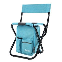 sornean Large Detachable Multi-Function Backpack Folding Chair with Cooler Bag for Fishing, Beac ...