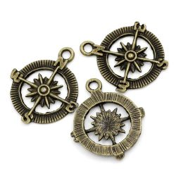 PEPPERLONELY Brand 30 PC Antique Bronze Compass Charm Pendants 1-1/8 x 1 Inch ( 30MM x 25MM )