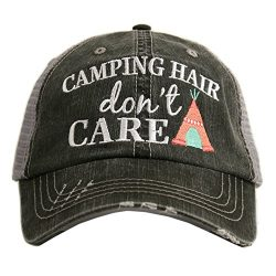 Camping Hair Don't Care Women's Distressed Grey Trucker Hat (Coral)