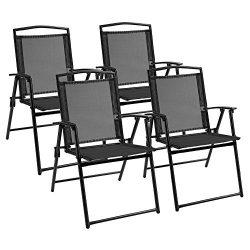 Devoko Patio Folding Deck Sling Back Chair Camping Garden Pool Beach Using Chairs Space Saving S ...
