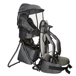 Clevr Cross Country Baby Backpack Carrier with Stand and Sun Visor Shade Child Kid toddler, Grey ...