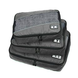 Belsmi 3 Set Durable Packing Cubes Set – Waterproof Compression Mesh Travel Luggage Packin ...