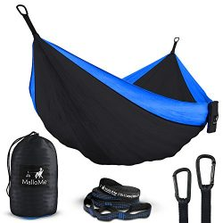 Double Portable Camping Hammock & Straps – Parachute Hammock Tree Straps Set with Max 1000 l ...