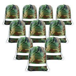 Drawstring Backpack Bags Reflective 10 Pack, Promotional Sport Gym Sack Cinch Bag (Royal Blue,Bl ...