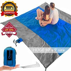 chanvi Large Beach Blanket Handy Ma t- Extra Size 9′ x 10′ Holds 7 Adults with Strap ...