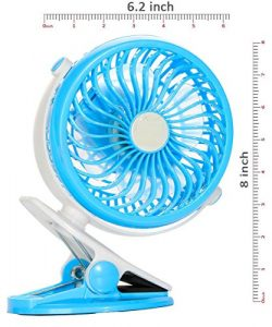 Indemoor Clip on Fan Usb And Battery Operated Cooling Fan For Travel, Camping, Portable Recharge ...