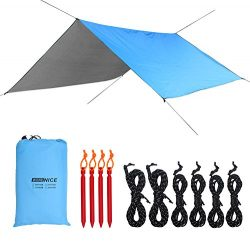 WoneNice Hammock Rain Fly Waterproof Tent Tarp Camping Backpacking Tarp Shelter, 4 Aluminum Stak ...