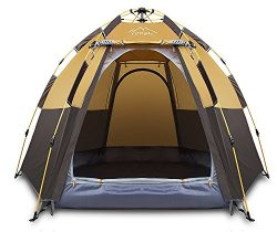 Toogh 4 Person Camping Tent 3 Seasons Backpacking Tents Hexagon Sun Dome Automatic Pop-Up Outdoo ...