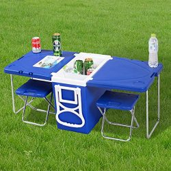 Waybackhome Multi Function Rolling Cooler Camping Picnic Table And 2 Chairs Blue