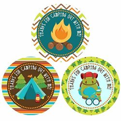 Thank You For Camping out With Me Sticker Labels – Camping Theme Birthday Party Supplies & ...