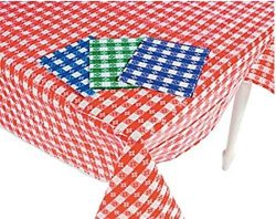 (4) Plastic Checkered Tablecloths – 4 Pc -Gingham Picnic Table Covers