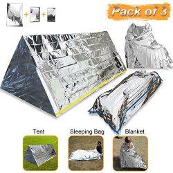 EMDMAK Emergency Mylar Thermal Survival Tent,Sleeping Bag Survival Shelter, Blanket 3 in 1 Emerg ...