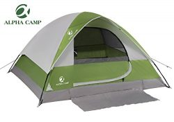 ALPHA CAMP 2 Person Dome Backpacking Tent With Sheet Mat – 7′ x 6′ Green