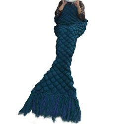 Christmas XMAS Gift for Friends, Egmy Knitted Mermaid Tail Blanket Handmade Crochet Adult Throw  ...
