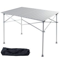 Giantex Portable Aluminum Folding Table Lightweight Outdoor Roll Up Camping Picnic Table with St ...