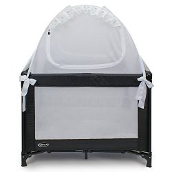 Baby Pack 'N Play Safety Pop up Tent: Premium Bed Canopy Netting Cover| See Through Mesh Top Nur ...