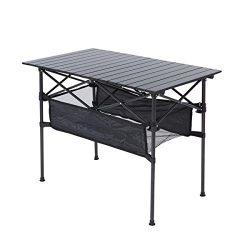 RORAIMA Easy Setup Portable Compact Aluminum Camping Folding Table With 120Lbs capacity Great fo ...