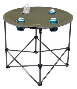 Internet's Best Camping Folding Table | 4 Cup Holders | Green | Outdoor | Quad | Carrying  ...