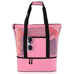 ROTANET Mesh Beach Tote Bag-Large Cooler Beach Bag with Zipper (Pink)