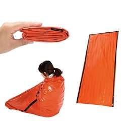 ULKEME 21391CM Orange Emergency Sleeping Bag Camping Outdoor Survival Tarp Shelter