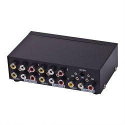 CE Compass 4 Port 1 In 4 Out 3 RCA AV Audio Video TV Box HDTV DVD PS3 Splitter Amplifier Switch