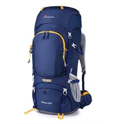 Mountaintop 60L Internal Frame Backpack Hiking Backpacking Packs with Rain Cover YKK zipper buck ...