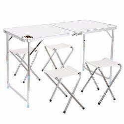 Edoking Folding Camping Table with 4 Folding Stools Height Adjustable Aluminum with Parasol Hole ...