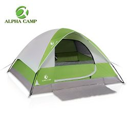 ALPHA CAMP 4 Person Camping Tent with Mud Mat – Dome Design 9′ x 7′ Green