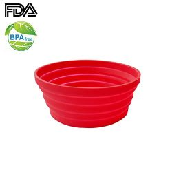 Ecoart Silicone Expandable Collapsible Bowl for Travel Camping Hiking, Red (1 Pack)