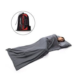 FiveJoy Premium Silk Cotton Blend Sleeping Bag Liner with Built-in Pillow Case – Lightweig ...