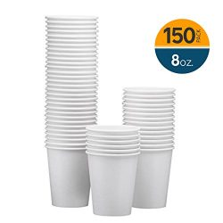 NYHI 150-Pack 8oz White Paper Disposable Cups – Hot/Cold Beverage Drinking Cup for Water, Juice, ...