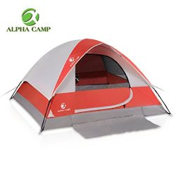 ALPHA CAMP 4 Person Camping Tent with Mud Mat – Dome Design 9′ x 7′ Red