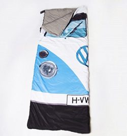 Blue VW Volkswagen T1 Camper Van Styled 3 Season Sleeping Bag – Warm Vintage Retro Camping ...