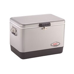 Coleman Steel-Belted Portable Cooler, 54 Quart, Silver