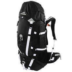 65l Backpack – Multi-day Pack for Hiking, Backpacking with Rain Cover – Black/White