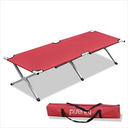 Purenity Folding Military Bed Portable Sport Camping COT With Free Storage Bag (Red)