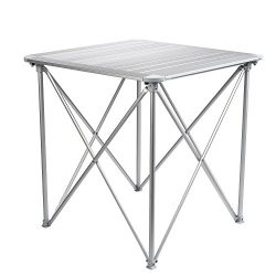 Campshine Roll Up Top Aluminum Alloy Portable Camping Picnic Table with Carrying Bag,4 People,Co ...