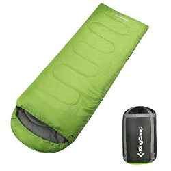 KingCamp Envelope Sleeping Bag 4 Season Lightweight Comfort with Compression Sack Camping Backpa ...