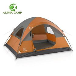 ALPHA CAMP Dome Tent 3 Person Dome Camping Tent with Carry Bag – 8′ x 7′ Orange